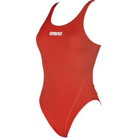 arena Solid Swim Tech High One Piece Swimsuit Women red-white